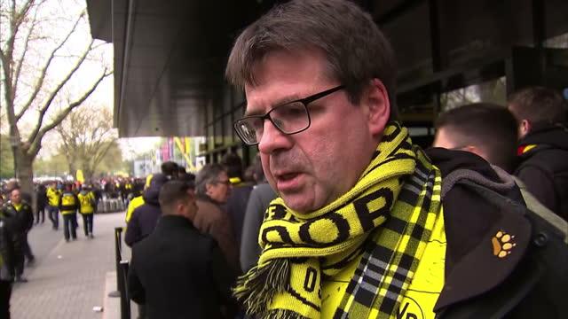 Exterior voxpops with Borussia Dortmund fans speaking on bomb blast on 12 April 2017 in Dortmund Germany