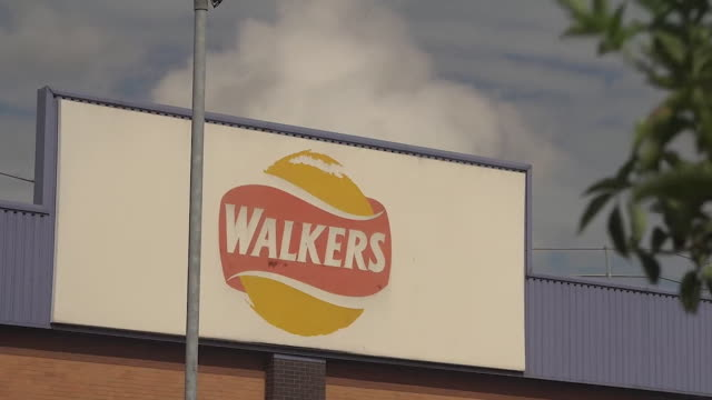 """exterior walkers factory in leicester where 28 members of staff have tested positive for coronavirus leicester is now in a local lockdown - """"bbc news"""" stock videos & royalty-free footage"""