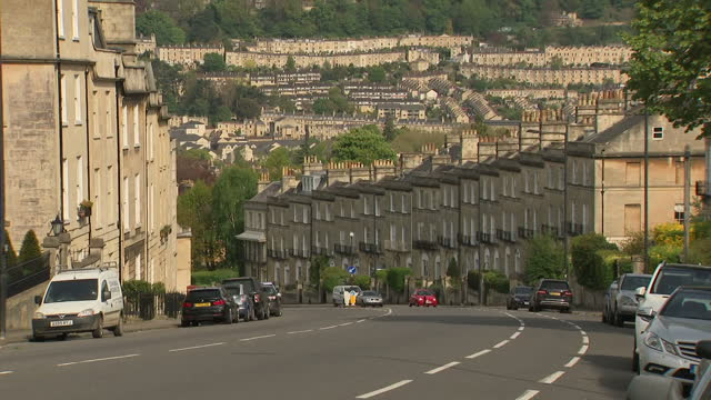 exterior wide location shots of bath city skyline with terraced houses built on hillsides in batj england on sunday 30th april 2017 - somerset england stock videos & royalty-free footage