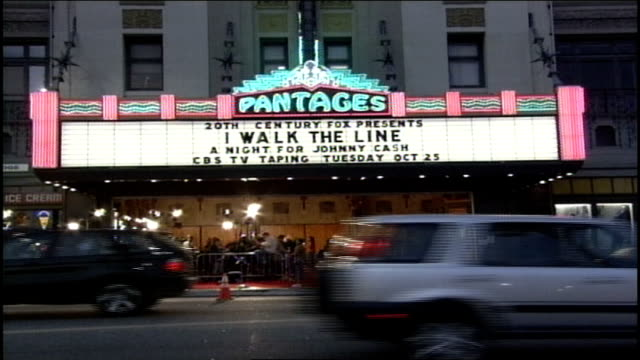 exterior wide shot of pantages theatre and marquee in hollywood, ca - theatre banner commercial sign stock videos & royalty-free footage