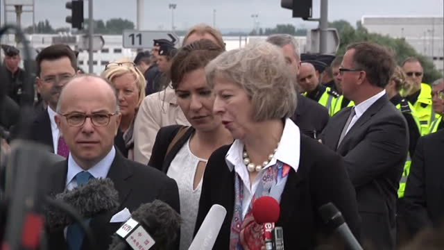 exterior wide shot of uk home secretary theresa may mp and french interior minister bernard cazeneuve giving press conference together on august 20,... - bernard cazeneuve stock videos & royalty-free footage