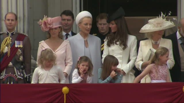 exterior wide shot the entire royal family stood on the buckingham palace balcony including prince princess michael of kent catherine duchess of... - princess michael of kent stock videos and b-roll footage