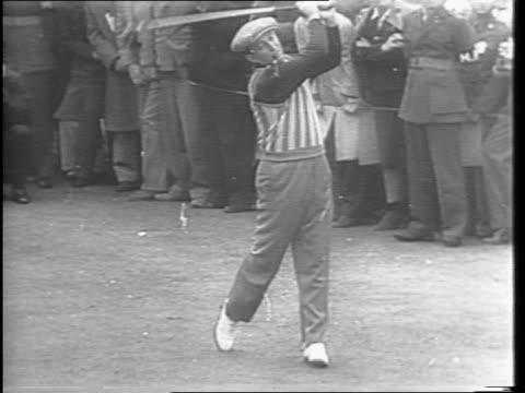 stockvideo's en b-roll-footage met exterior wide shots of a golf course in hollywood with crowds watching / medium shot of bing crosby hitting the ball / medium shot of frank sinatra... - bing crosby