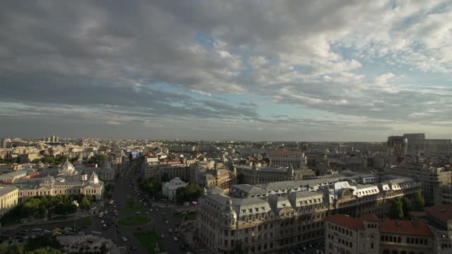 vidéos et rushes de exterior wide shots of bucharest city skyline shot from a tall building on february 07, 2014 in bucharest, romania. - roumanie