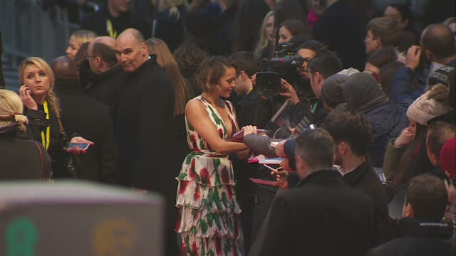Exterior wide shots of Carmen Ejogo actress signing autographs on red carpet at the BAFTA Awards at the Royal Albert Hall on February 12th 2017 in...