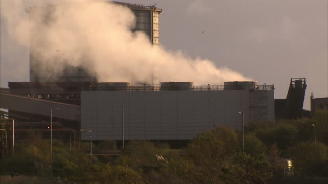 exterior wide shots of chimneys and a blast furnace at liberty steel on november 10 2016 in port talbot wales - blast furnace stock videos & royalty-free footage