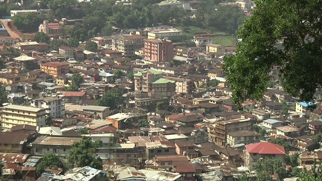 exterior wide shots of freetown cityscape filmed from a hill on december 18 2014 in sierra leone - sierra leone stock videos & royalty-free footage