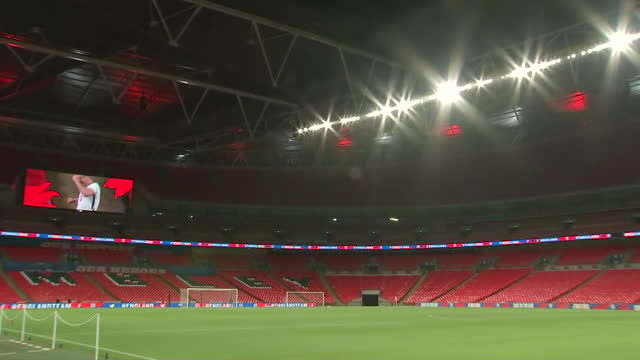 exterior wide shots of inside wembley stadium. this footage was taken before england took on the republic of ireland in a friendly match on the 12th... - wembley stadium stock videos & royalty-free footage