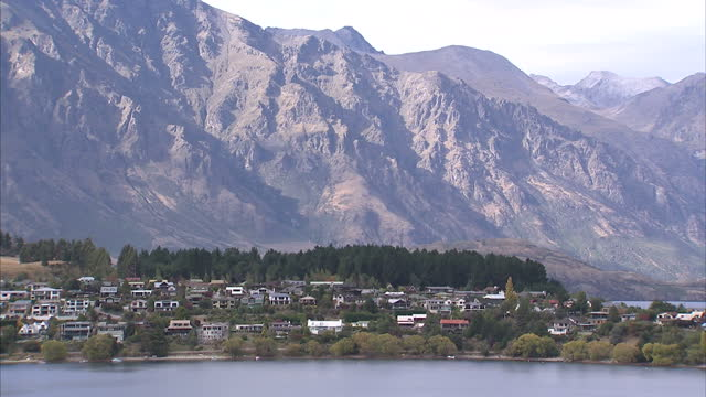 Exterior wide shots of Lake Wakatipu aka Frankton Arm and surrounding mountains on April 13 2014 in Queenstown New Zealand