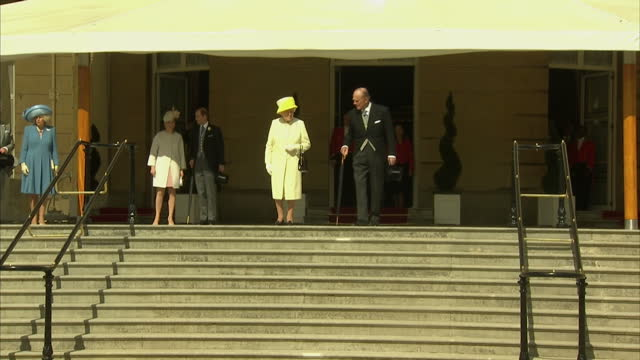 exterior wide shots of Prince Charles Camilla Duchess of Cornwall Sophie the Countess of Wessex Edward Earl of Wessex Queen Elizabeth II and Prince...