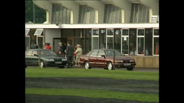 exterior wide shots of princes diana prince william prince harry getting into car as they depart wetherby school after prince harry's sports day on... - 1992 stock videos and b-roll footage