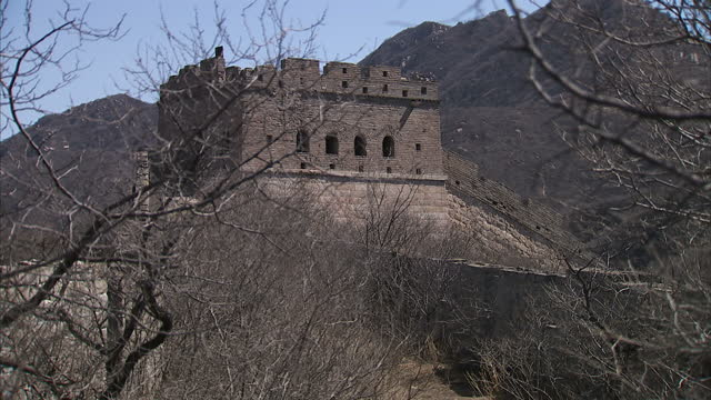exterior wide shots of the the badaling section of the great wall of china on april 2 2010 in yanqing county china - badaling great wall stock videos & royalty-free footage