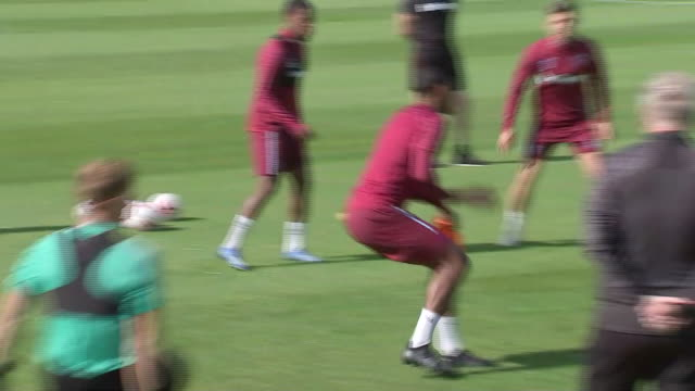 exterior wide shots of west ham players performing training drills at the west ham training ground in chadwell heath, london on the 19th of september... - drill stock videos & royalty-free footage