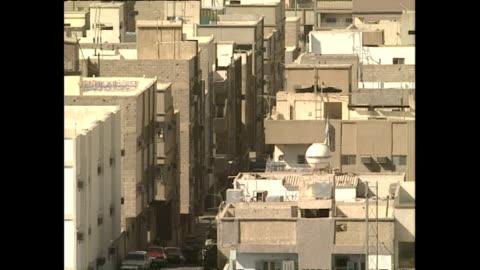 exterior wide shots riyadh skyline, cityscape on november 16, 1990 in jeddah, saudi arabia. - jiddah stock videos & royalty-free footage