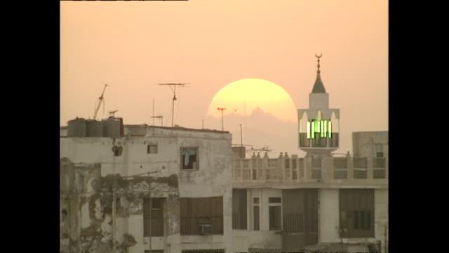 exterior wide shots sunrise and jeddah buildings on december 02 1990 in jeddah saudi arabia - jiddah stock videos & royalty-free footage