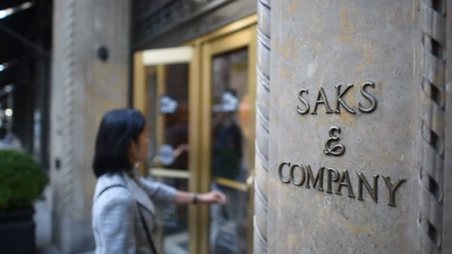 Exteriors and signage of Saks Fifth Avenue Flagship store in New York New York United States on September 25 Wide shots and close ups Saks Company...