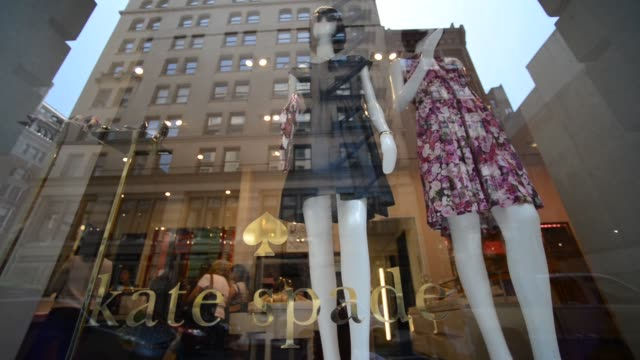 exteriors and signage shots of a kate spade store location at 135 5th ave at the corner of 20th st in new york ny shots of mannequins set up in the... - window display stock videos and b-roll footage