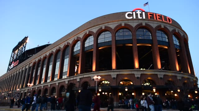 exteriors and signage shots of citifield home of the new york mets in flushing queens new york wideshots of citifield with fans waiting to enter the... - flushing meadows corona park stock videos and b-roll footage