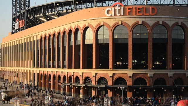 exteriors and signage shots of citifield home of the new york mets in flushing queens new york wideshots of citifield with people walking around the... - flushing meadows corona park stock videos and b-roll footage