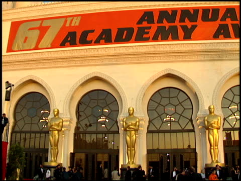 exteriors at the 1995 academy awards arrivals at the shrine auditorium in los angeles, california on march 27, 1995. - academy awards stock videos & royalty-free footage