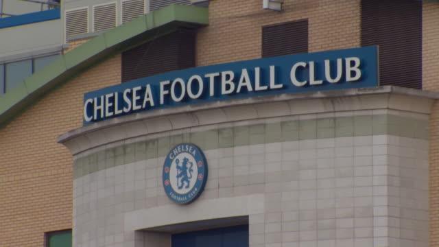 exteriors chelsea football club stadium at stamford bridge - チェルシーfc点の映像素材/bロール