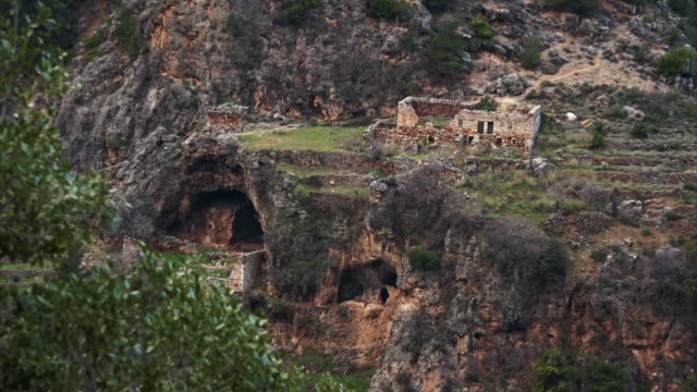 Exteriors of an abandoned monastery in the Qadisha Valley in Lebanon