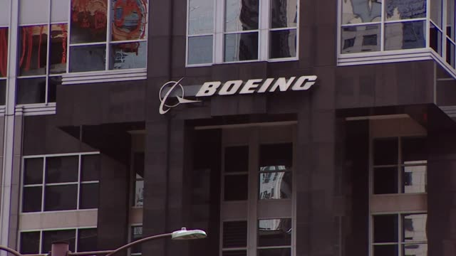 exteriors of boeing headquarters in chicago usa - boeing stock videos & royalty-free footage