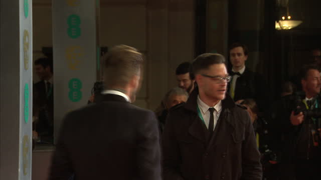 exteriors of david beckham on the red carpet at the bafta awards on february 08 2015 in london england - 2015 video stock e b–roll