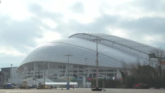 vídeos y material grabado en eventos de stock de exteriors of fisht olympic stadium in sochi venue for the 2014 sochi winter olympics - sochi