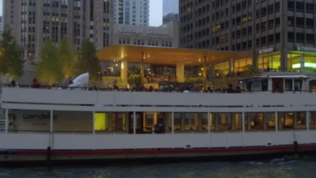 Exteriors of new Apple store during the Grand Opening event viewed from the river in Chicago IL on October 20 2017 Photographer Dan Acker Shots wide...