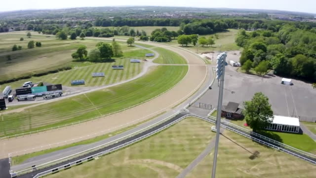 exteriors of newcastle racecourse gosforth park as it prepares to reopen after coronavirus lockdown - horse racing stock videos & royalty-free footage