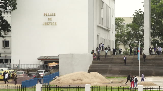 exteriors of palais de justice the constitutional court in kinshasa drc - government stock videos & royalty-free footage