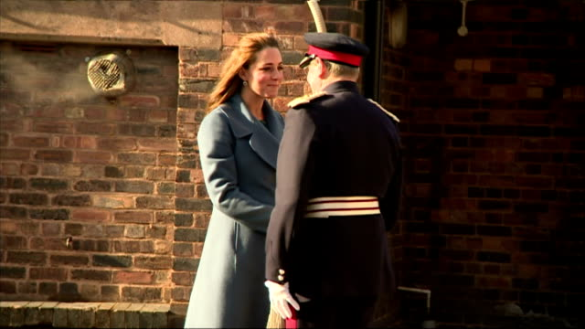 exteriors of pregnant catherine, duchess of cambridge arriving at the emma bridgewater factory, and being introduced by emma bridewater to the... - peerage title stock videos & royalty-free footage