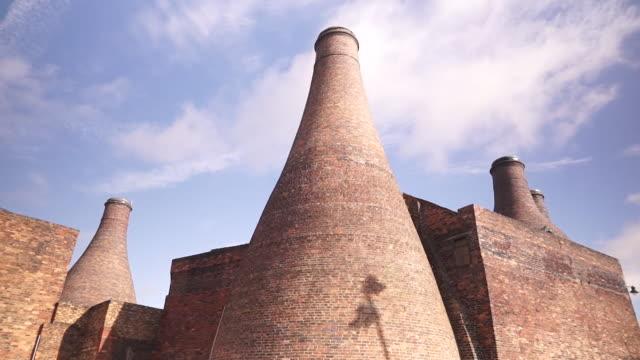 exteriors of stoke potteries kilns - pottery stock videos & royalty-free footage