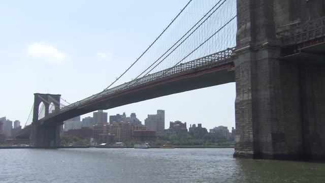 Exteriors of the Brooklyn Bridge and Manhattan Bridge on July 24 2014 in New York City