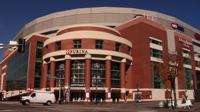 Exteriors of the Edward Jones Dome Static shot in front of Purina Gate