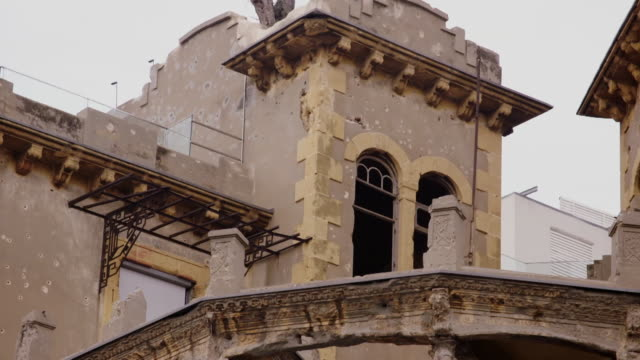exteriors of 'the house of beirut' barakat building - war and conflict stock videos & royalty-free footage