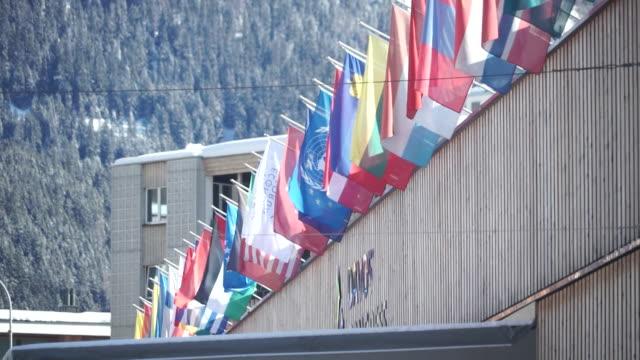 "exteriors of the world economic forum annual meeting 2020 in davos, switzerland - ""bbc news"" stock-videos und b-roll-filmmaterial"