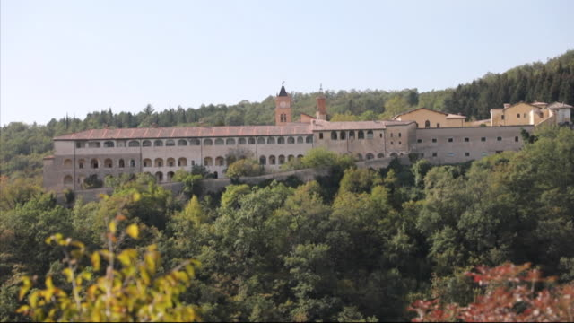 Exteriors of Trisulti Monastery on hilltop in Collepardo Italy