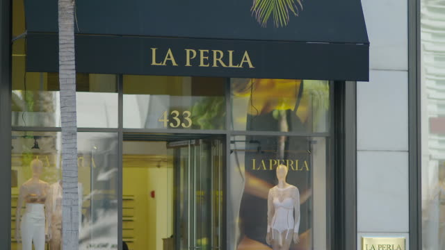 MS Exteriors of upscale shops - La Perla / Rodeo Drive, Beverly Hills, Los Angeles County, California, United States