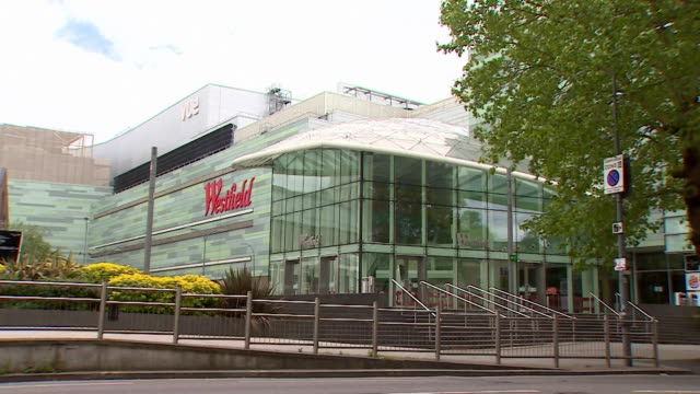 exteriors of westfield shopping centre in london closed except for essential services during the coronavirus lockdown - merchandise stock videos & royalty-free footage