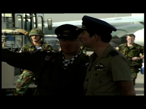 exteriors prince charles greeting british troops at royal air force base. - royal air force stock videos & royalty-free footage