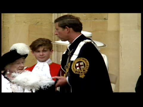 exteriors prince charles, prince of wales departs chapel with queen elizabeth. exteriors queen elizabeth ii departs with prince philip, duke of... - 1992 stock videos & royalty-free footage