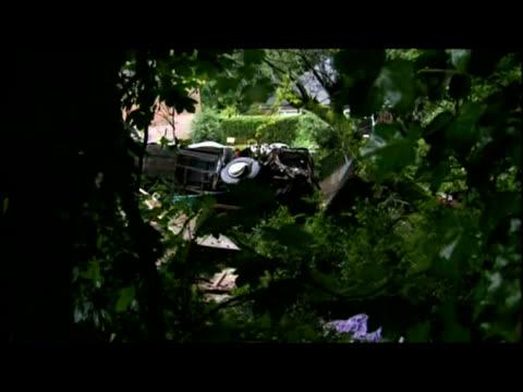exteriors var of coach crash wreckage. - var stock-videos und b-roll-filmmaterial
