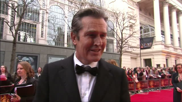 stockvideo's en b-roll-footage met external grab with actor rupert everett speaking about playing oscar wilde in david hare's play 'the judas kiss' 2013 olivier awards at the royal... - rupert everett