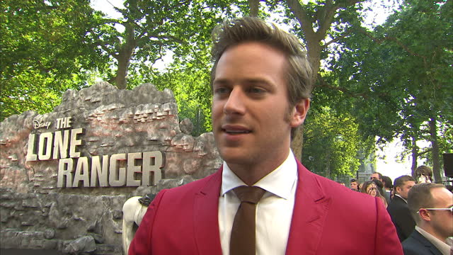 external interview with armie hammer speaking about playing the leading role in 'the lone ranger being one of the most fun things i have ever done... - the lone ranger 2013 film stock videos and b-roll footage