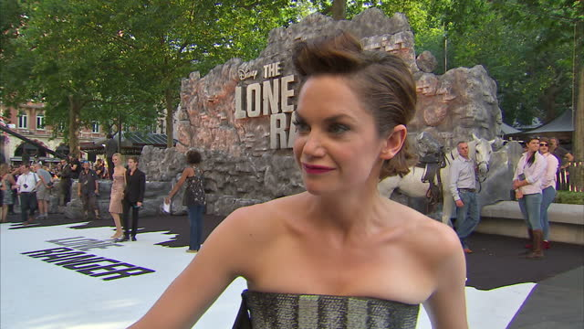 external interview with ruth wilson speaking about how much she enjoyed making 'the lone ranger' lone ranger film premiere in london on july 21 2013... - the lone ranger 2013 film stock videos and b-roll footage