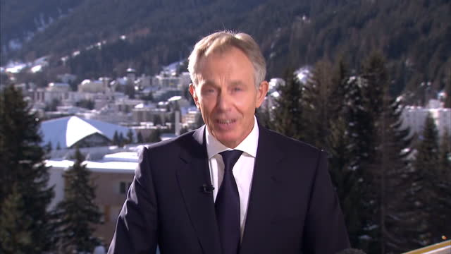 external interview with tony blair on eu referendum europe referendum tony blair interview on january 23 2013 in davos switzerland - 投票点の映像素材/bロール