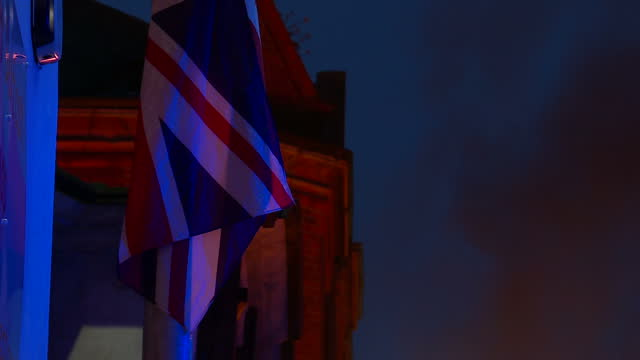 external night shots of july 12th bonfire celebrations in belfast for battle of the boyne anniversary union jack british flag blowing gently in... - northern ireland stock videos & royalty-free footage