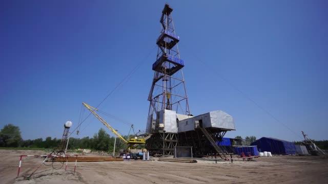 External shots of a drilling rig during gas extraction operations by DK Ukrgazvydobuvannya a unit of NAK Naftogaz Ukrainy in Poltava Ukraine on...
